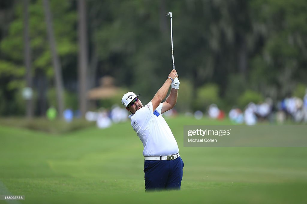 Andres Gonzales hits a shot from the rough during the final round of the Web.com Tour Championship held on the Dye's Valley Course at TPC Sawgrass on September 29, 2013 in Ponte Vedra Beach, Florida.