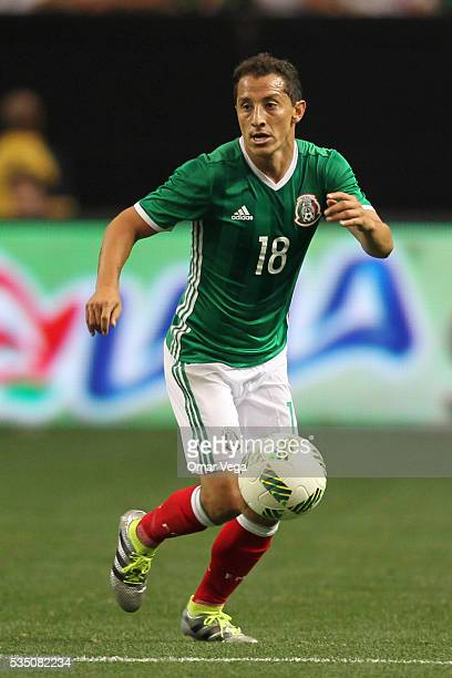Andres Guardado drives the ball during the International Friendly between Mexico and Paraguay at Georgia Dome on May 28 2016 in Atlanta Georgia