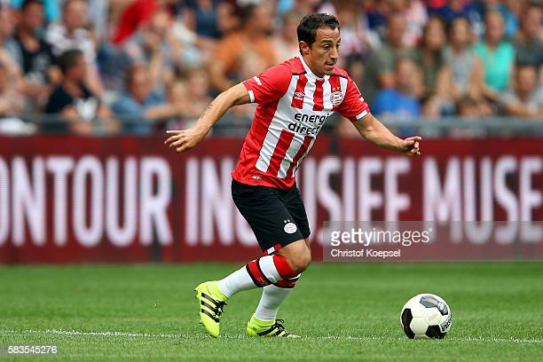 Andres Guardado of Eindhoven runs with the ball during the friendly match between FC Eindhoven and PSV Eindhoven at Philips Stadium on July 26 2016...