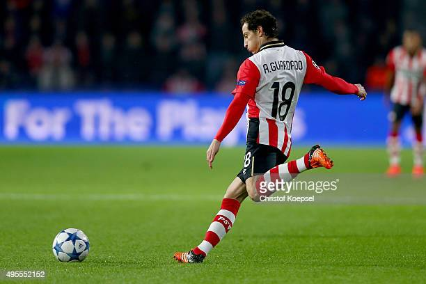 Andres Guardado of Eindhoven runs with the ball during the UEFA Champions League Group B match between PSV Eindhoven and VfL Wolfsburg at Philips...