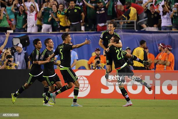 Andres Guardado of Mexico celebrates after scoring a goal to make it 01 during the 2015 CONCACAF Gold Cup Final match between Jamaica and Mexico at...