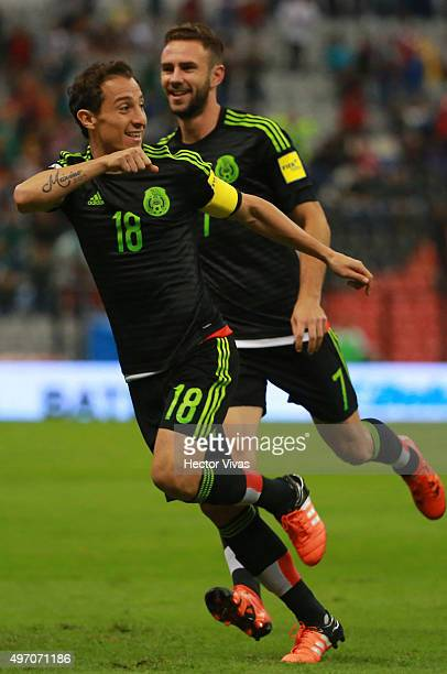 Andres Guardado of Mexico celebrates after scoring the first goal of his team during the match between Mexico and El Salvador as part of the 2018...