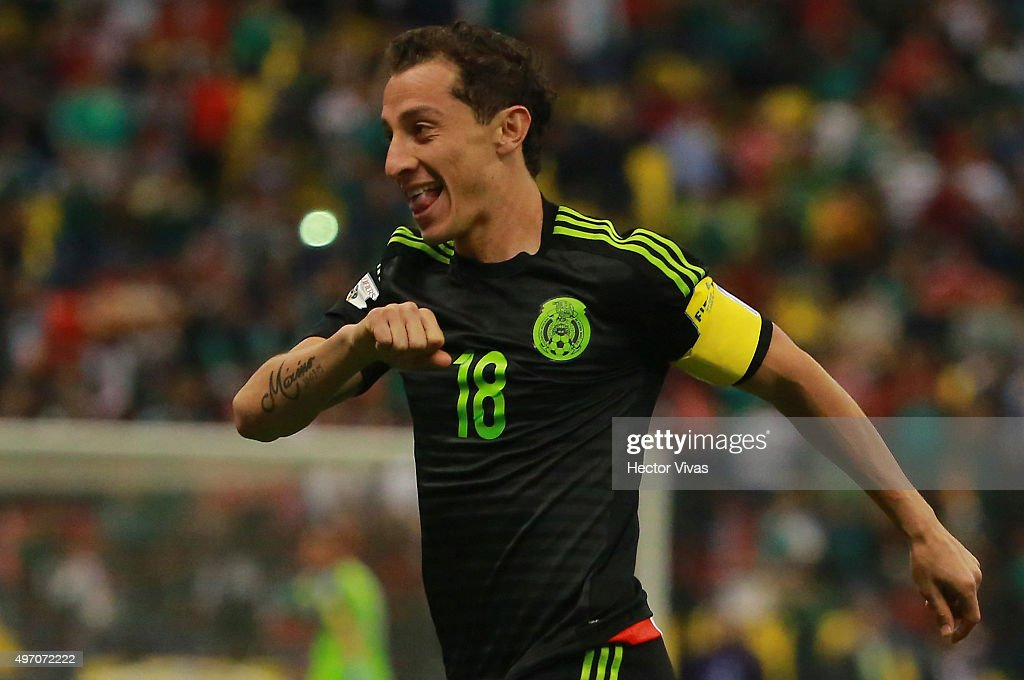 Andres Guardado of Mexico celebrates after scoring the first goal of his team during the match between Mexico and El Salvador as part of the 2018 FIFA World Cup Qualifiers at Azteca Stadium on November 13, 2015 in Mexico City, Mexico.
