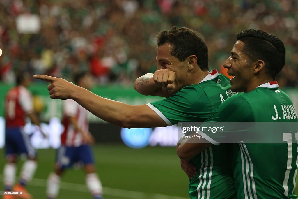 Andres Guardado of Mexico celebrates after scoring the first goal of his team during the international friendly match between Mexico and Paraguay in Giorgia Dome on May 28, 2016 in Atlanta, United States.