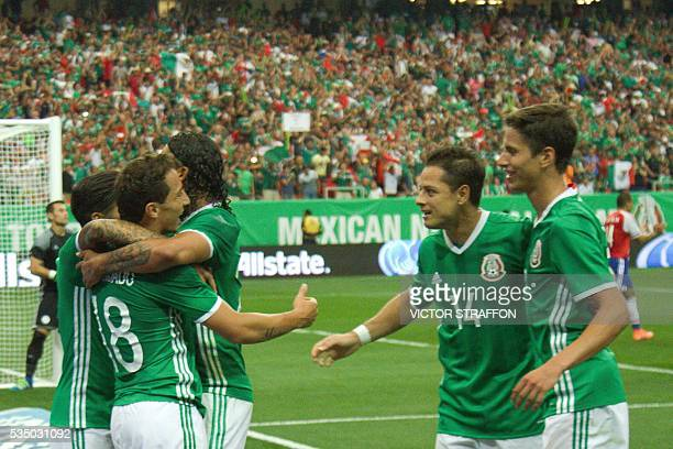 Andres Guardado of Mexico celebrates his goal with his team during the friendly match between the Mexican national team and Paraguay national team at...