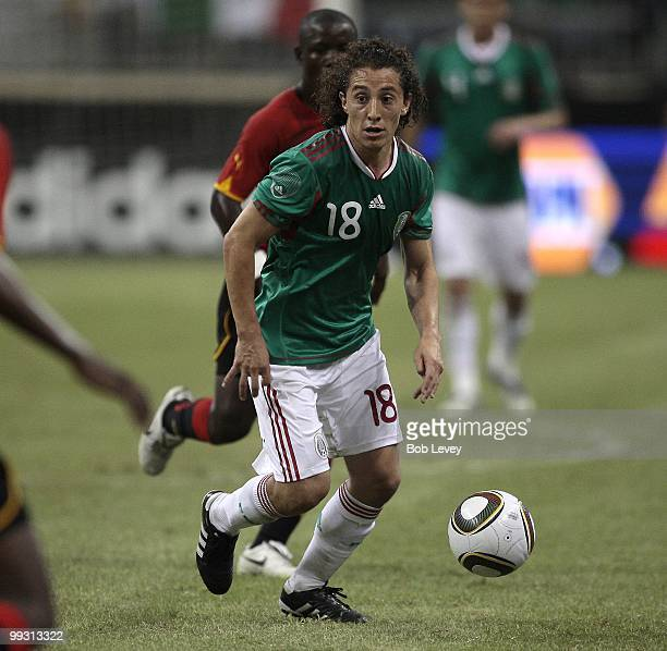 Andres Guardado of Mexico controls the ball against Angola at Reliant Stadium on May 13 2010 in Houston Texas