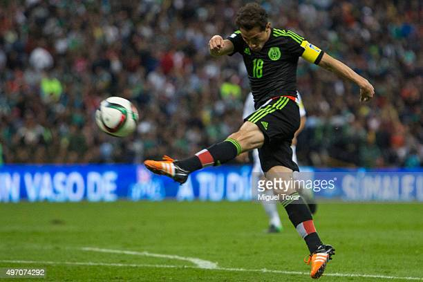 Andres Guardado of Mexico kicks the ball during the match between Mexico and El Salvador as part of the 2018 FIFA World Cup Qualifiers at Azteca...