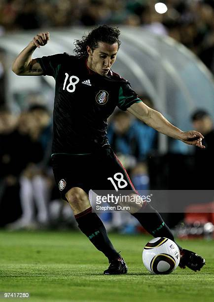Andres Guardado of Mexico passes the ball against New Zealand in an international friendly at the Rose Bowl on March 3 2010 in Pasadena California...