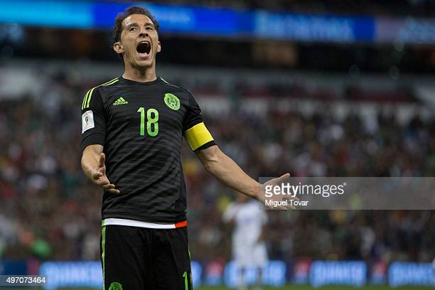 Andres Guardado of Mexico reacts during the match between Mexico and El Salvador as part of the 2018 FIFA World Cup Qualifiers at Azteca Stadium on...