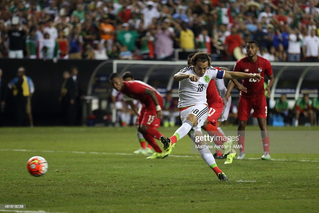 <a gi-track='captionPersonalityLinkClicked' href=/galleries/search?phrase=Andres+Guardado&family=editorial&specificpeople=465479 ng-click='$event.stopPropagation()'>Andres Guardado</a> of Mexico scores a goal to make it 1-1 from a last minute penalty during 2015 CONCACAF Gold Cup Semi Final between Panama and Mexico at Georgia Dome on July 22, 2015 in Atlanta, Georgia.