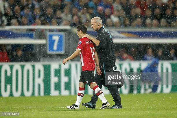 Andres Guardado of PSV caretaker Cees van der Linden of PSVduring the Dutch Eredivisie match between sc Heerenveen and PSV Eindhoven at Abe Lenstra...