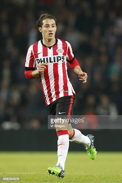 Andres Guardado of PSV during the Dutch Eredivisie match between PSV Eindhoven and ADO Den Haag at the Phillips stadium on November 01 2014 in...