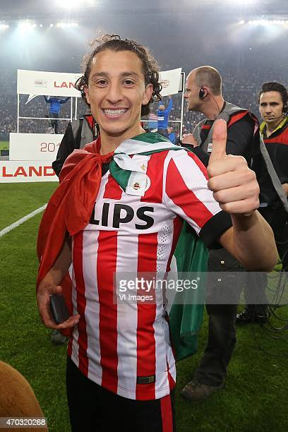 Andres Guardado of PSV during the Dutch Eredivisie match between PSV Eindhoven and SC Heerenveen at the Phillips stadium on April 18 2015 in...