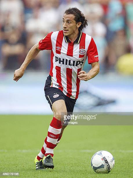 Andres Guardado of PSV during the Dutch Eredivisie match between PSV Eindhoven and Feyenoord Rotterdam at the Phillips stadium on August 30 2015 in...