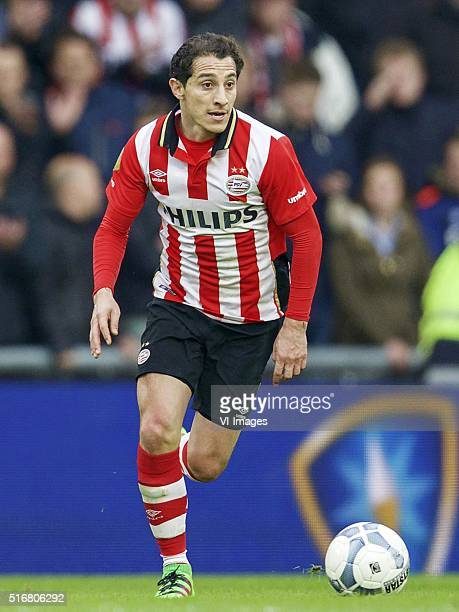 Andres Guardado of PSV during the Dutch Eredivisie match between PSV Eindhoven and Ajax Amsterdam at the Phillips stadium on March 20 2016 in...