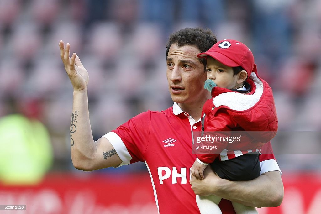 Andres Guardado of PSV during the Dutch Eredivisie match between PSV Eindhoven and SC Cambuur Leeuwarden at the Phillips stadium on May 01, 2016 in Eindhoven, The Netherlands