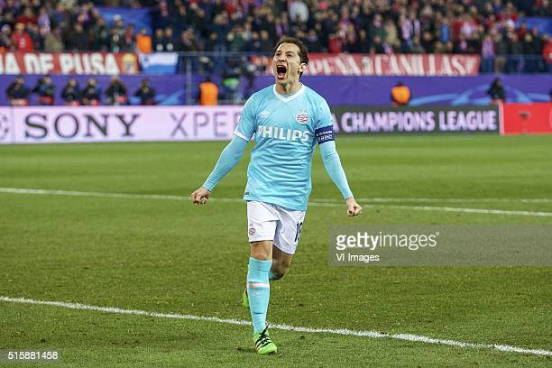 Andres Guardado of PSV during the UEFA Champions League Round of 16 Second leg match between Atletico madrid and PSV Eindhoven on March 15 2016 at...