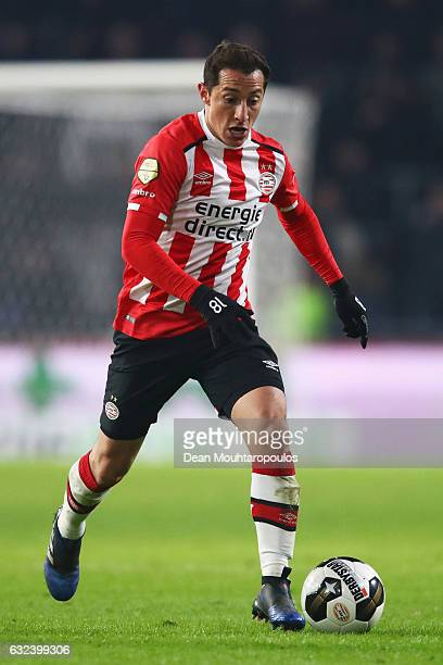 Andres Guardado of PSV in action during the Dutch Eredivisie match between PSV Eindhoven and SC Heerenveen held at Philips Stadion on January 22 2017...