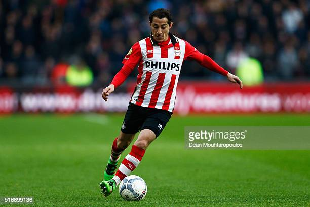 Andres Guardado of PSV in action during the Eredivisie match between PSV Eindhoven and Ajax Amsterdam held at Philips Stadium on March 20 2016 in...