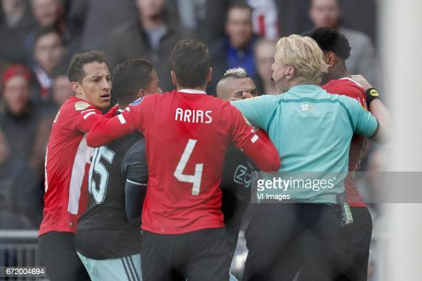 Andres Guardado of PSV Justin Kluivert of Ajax Santiago Arias of PSV Hakim Ziyech of Ajax referee Kevin Blom Jurgen Locadia of PSVduring the Dutch...