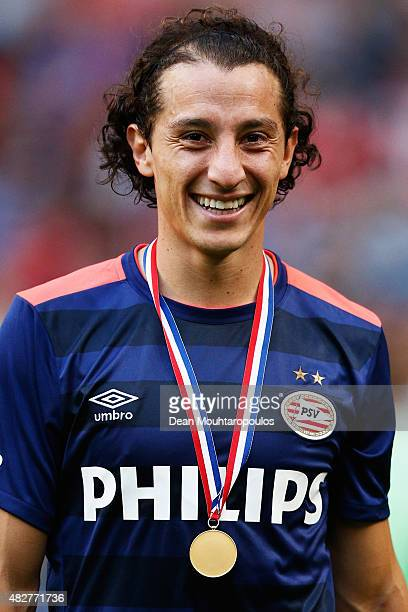 Andres Guardado of PSV looks on after winning the Johan Cruijff Shield match between FC Groningen and PSV Eindhoven on August 2 2015 in Amsterdam...