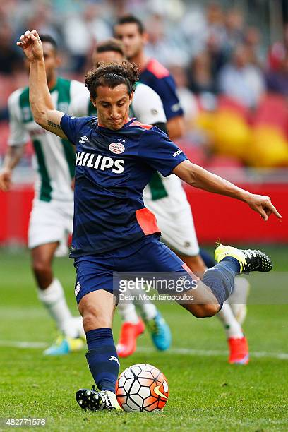 Andres Guardado of PSV takes and misses a penalty during the Johan Cruijff Shield match between FC Groningen and PSV Eindhoven on August 2 2015 in...
