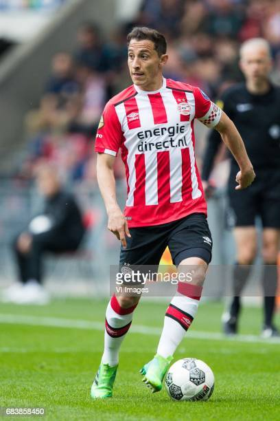 Andres Guardado of PSVduring the Dutch Eredivisie match between PSV Eindhoven and PEC Zwolle at the Phillips stadium on May 14 2017 in Eindhoven The...