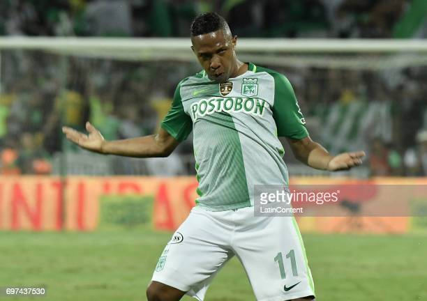 Andres Ibarguen of Atletico Nacional celebrates after scoring the third goal of his team during the Final second leg match between Atletico Nacional...