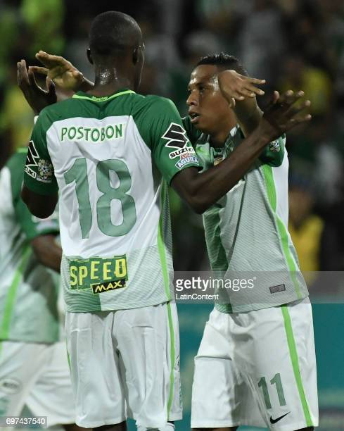 Andres Ibarguen of Atletico Nacional celebrates with teammate Rodin Jair Quiñones after scoring the third goal of his team during the Final second...