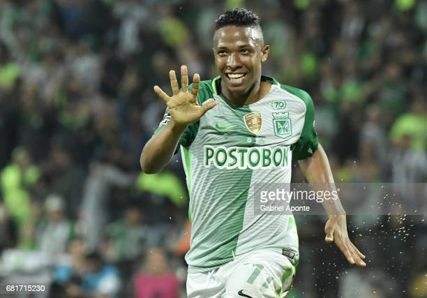 Andres Ibarguen of Nacional celebrates after scoring the fourth goal of his team during a match between Atletico Nacional and Chapecoense as part of...