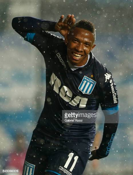 Andres Ibarguen of Racing Club celebrates after scoring the fourth goal of his team during a match between Racing Club and Temperley as part of the...