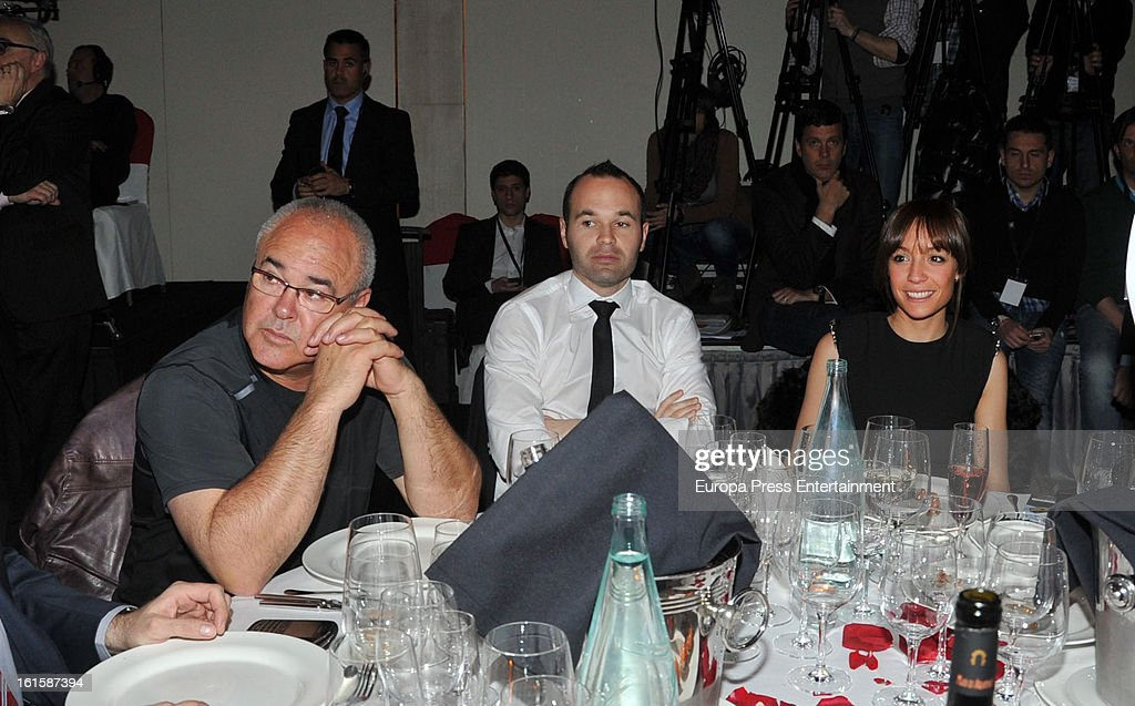 Andres Iniesta (C) and Anna Ortiz attend the Sport Annual Gala In Barcelona at palau de Congresos on February 11, 2013 in Barcelona, Spain.