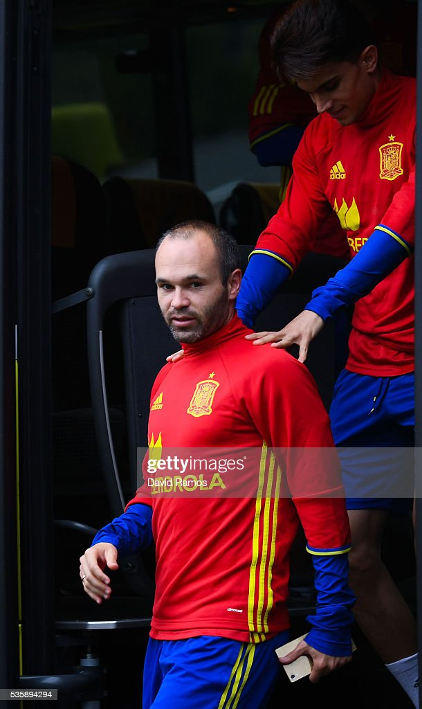 Andres Iniesta and Marc Bartra of Spain arrive for a training session on May 30, 2016 in Schruns, Austria.