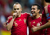 Andres Iniesta celebrates after scoring goal during the Spain v Slovakia EURO 2016 Qualifier at Carlos Tartiere on Sep 5 2015 in Oviedo Spain