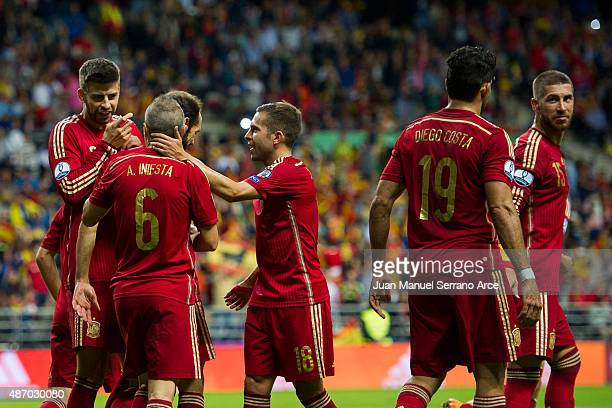 Andres Iniesta celebrates after scoring goal during the Spain v Slovakia EURO 2016 Qualifier at Carlos Tartiere on Sep 5 2015 in Oviedo SpainÊ