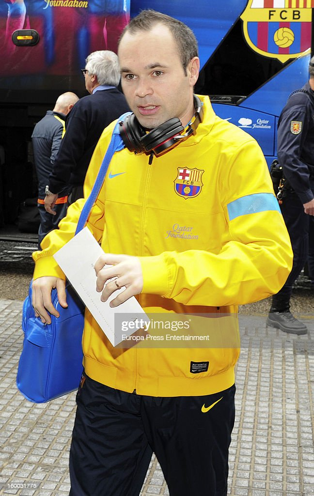 <a gi-track='captionPersonalityLinkClicked' href=/galleries/search?phrase=Andres+Iniesta&family=editorial&specificpeople=465707 ng-click='$event.stopPropagation()'>Andres Iniesta</a> is seen arriving at hotel before the match against Malaga CF for the Copa del Rey Quarter Final on January 24, 2013 in Malaga, Spain.