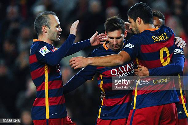 Andres Iniesta Lionel Messi Luis Suarez and Neymar of FC Barcelona celebrate after Neymae scored his team's second goal during the La Liga match...