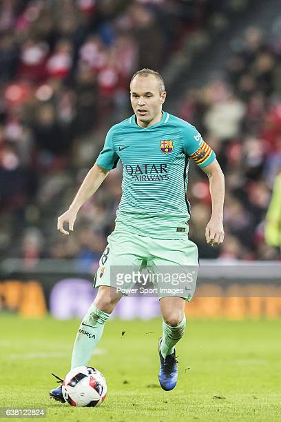 Andres Iniesta Lujan of FC Barcelona in action during their Copa del Rey Round of 16 first leg match between Athletic Club and FC Barcelona at San...