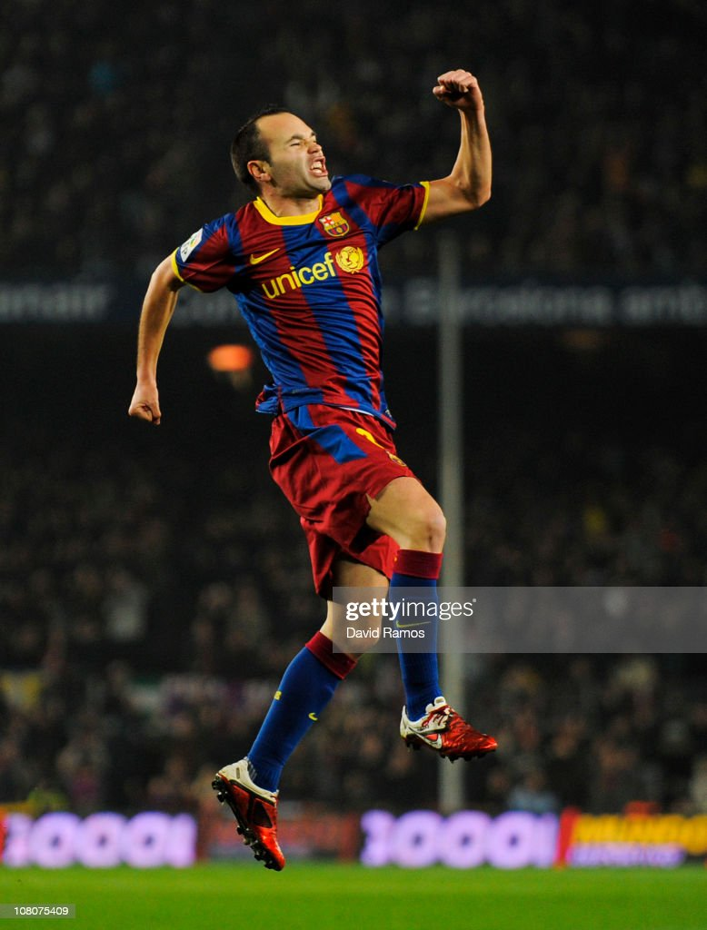 Andres Iniesta of FC Barcelona celebrates after scoring his side's first goal during the La Liga match between FC Barcelona and Malaga at Nou Camp on January 16, 2011 in Barcelona, Spain.