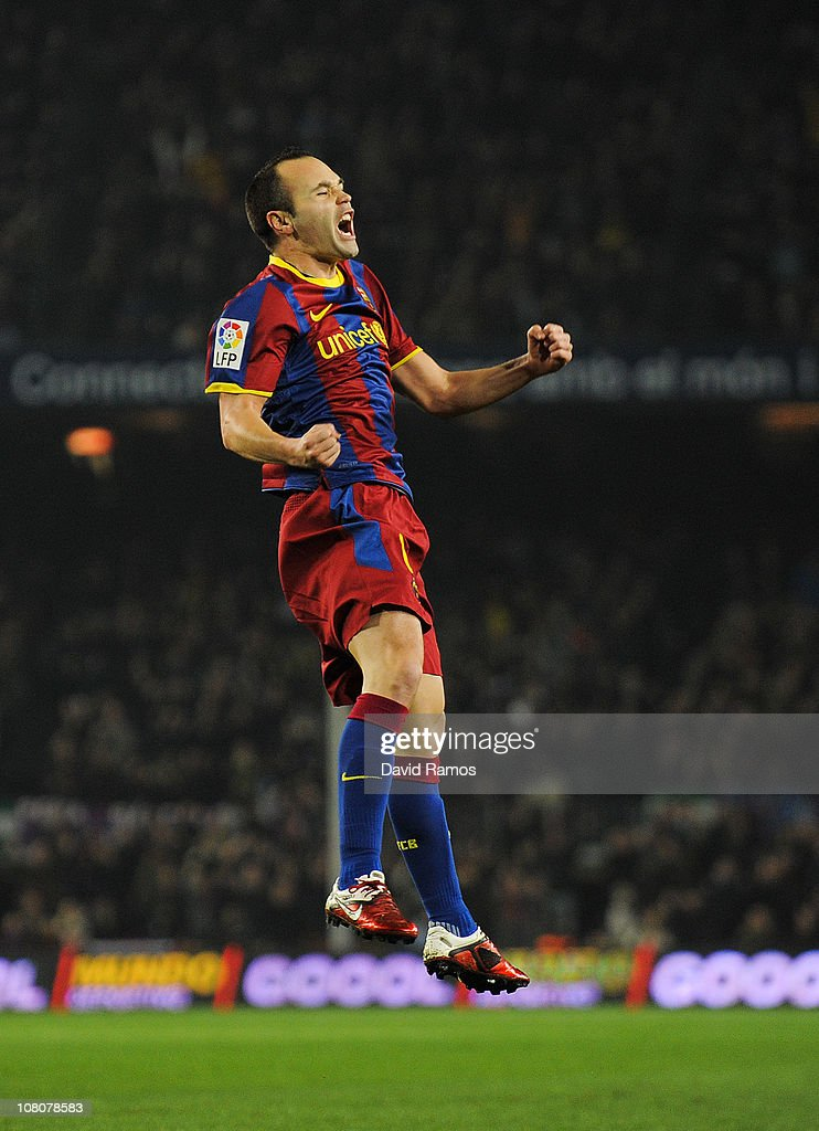 Andres Iniesta of FC Barcelona celebrates after scoring his side's first goal during the La Liga match between FC Barcelona and Malaga at Nou Camp on January 16, 2011 in Barcelona, Spain. Barcelona won 4-1.