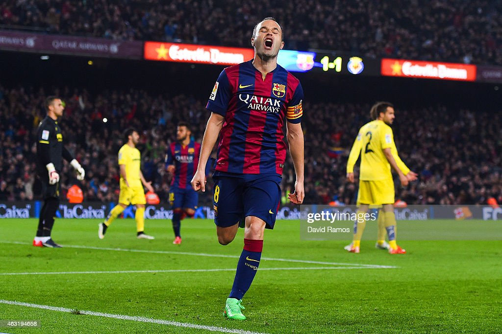 <a gi-track='captionPersonalityLinkClicked' href=/galleries/search?phrase=Andres+Iniesta&family=editorial&specificpeople=465707 ng-click='$event.stopPropagation()'>Andres Iniesta</a> of FC Barcelona celebrates after scoring his team's second goal during the Copa del Rey Semi-Final first leg match between FC Barcelona and Villarreal CF at Camp Nou on February 11, 2015 in Barcelona, Spain.