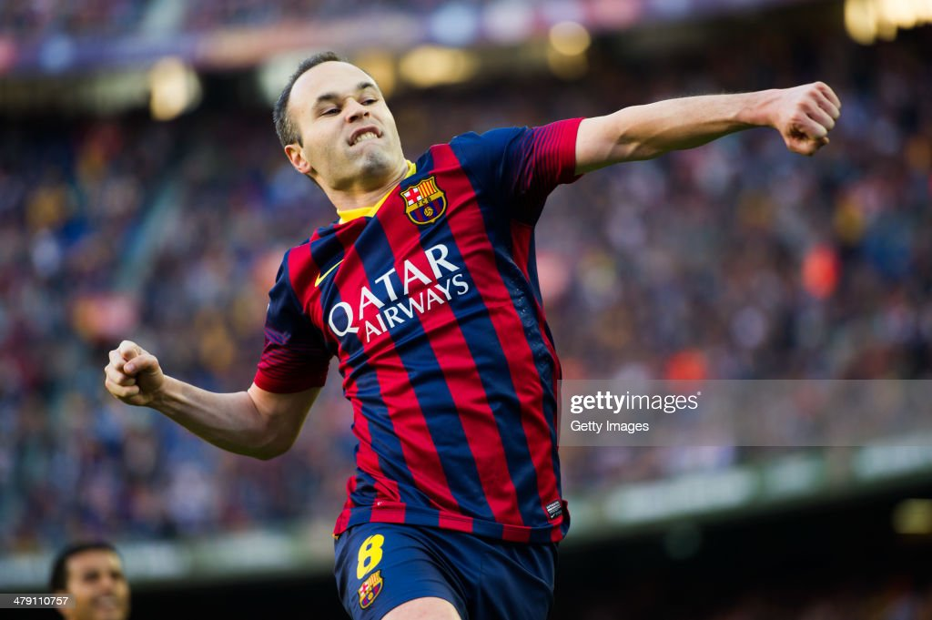 <a gi-track='captionPersonalityLinkClicked' href=/galleries/search?phrase=Andres+Iniesta&family=editorial&specificpeople=465707 ng-click='$event.stopPropagation()'>Andres Iniesta</a> of FC Barcelona celebrates after scoring his team's third goal during the La Liga match between FC Barcelona and CA Osasuna at Camp Nou on March 16, 2014 in Barcelona, Spain.