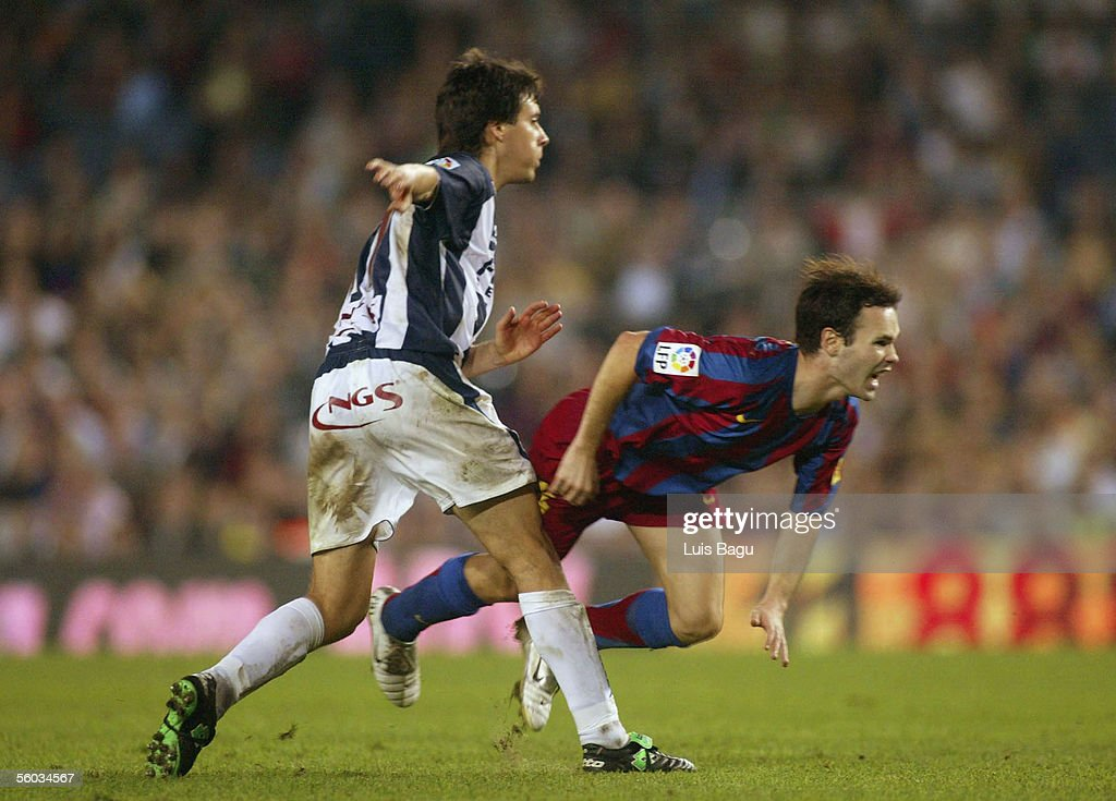 Andres Iniesta of FC Barcelona in action during the La Liga match between FC Barcelona and Real Sociedad, on October 30, 2005 at the Camp Nou stadium in Barcelona, Spain.
