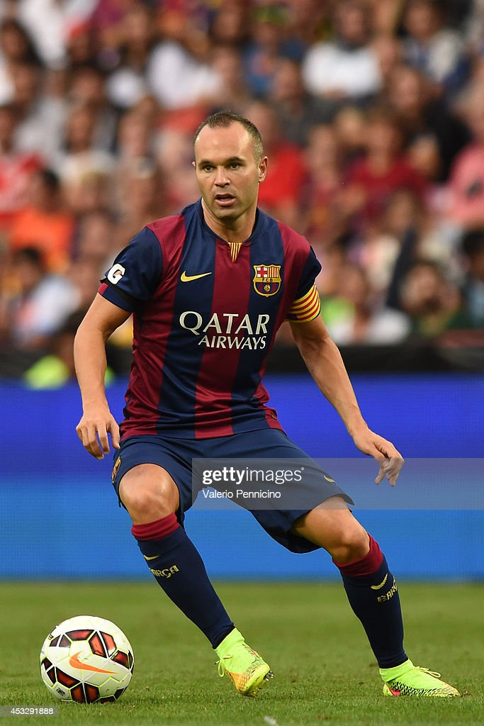 Andres Iniesta of FC Barcelona in action during the pre-season friendly match between FC Barcelona and SSC Napoli on August 6, 2014 in Geneva, Switzerland.