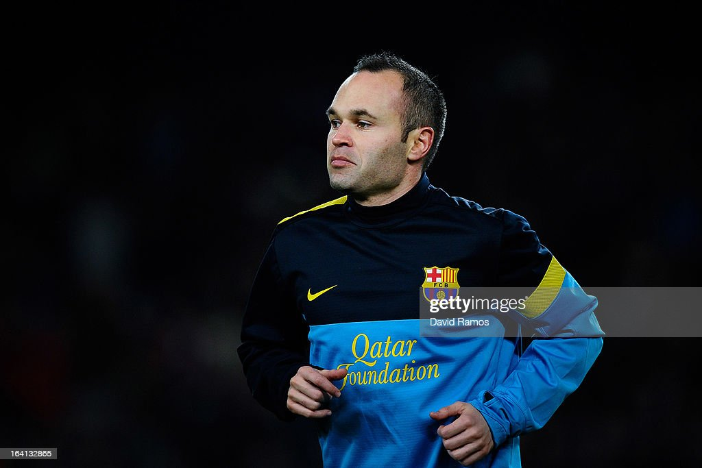 <a gi-track='captionPersonalityLinkClicked' href=/galleries/search?phrase=Andres+Iniesta&family=editorial&specificpeople=465707 ng-click='$event.stopPropagation()'>Andres Iniesta</a> of FC Barcelona looks on during the warm up prior to the La Liga match between FC Barcelona and Rayo Vallecano at Camp Nou on March 17, 2013 in Barcelona, Spain.