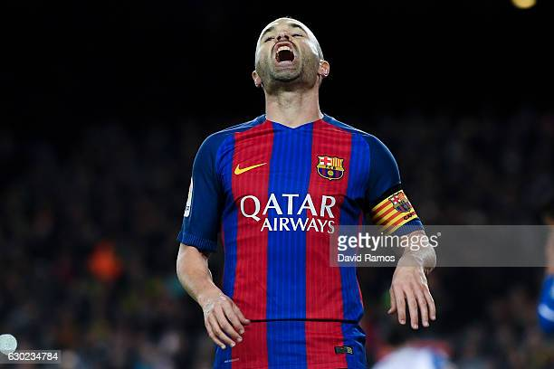 Andres Iniesta of FC Barcelona reacts during the La Liga match between FC Barcelona and RCD Espanyol at the Camp Nou stadium on December 18 2016 in...