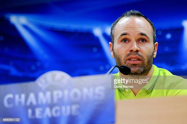 Andres Iniesta of FC Barcelona speaks to the media during a press conference ahead of their UEFA Champions League round of 16 match against...