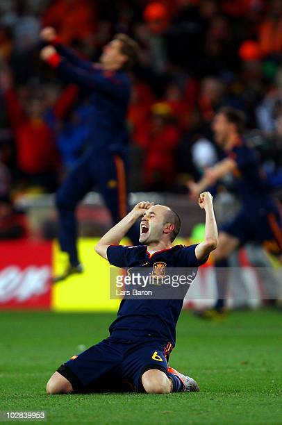 Andres Iniesta of Spain celebrates after his goal seals victory during the 2010 FIFA World Cup South Africa Final match between Netherlands and Spain...