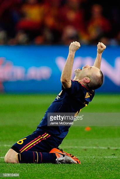 Andres Iniesta of Spain celebrates after his goal wins the World Cup for Spain during the 2010 FIFA World Cup South Africa Final match between...