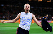 Andres Iniesta of Spain celebrates scoring his side's first goal during the 2010 FIFA World Cup South Africa Final match between Netherlands and...